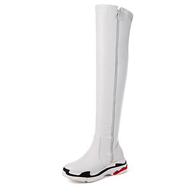 povoljno Ženske čizme-Žene PU Jesen zima Ležerne prilike / minimalizam Čizme Wedge Heel Okrugli Toe Čizme preko koljena Obala / Crn
