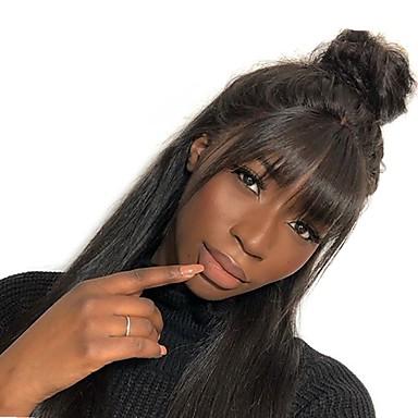 Remy kosa Full Lace Lace Front Perika Asimetrična frizura stil Brazilska kosa Ravan kroj Prirodno ravno Natural Crna Perika 130% 150% 180% Gustoća kose Nježno Žene Jednostavan dressing Najbolja
