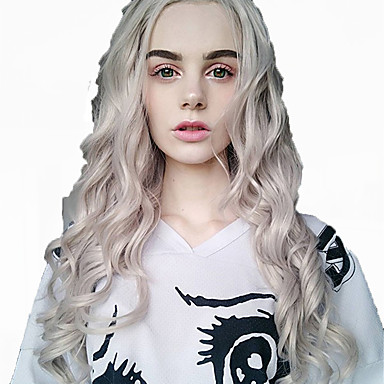 Synthetic Wig / Synthetic Lace Front Wig / Cosplay Wig Classic / Water Wave Style Layered Haircut Lace Front Wig Silver Silver Synthetic Hair 35.5 inch Women's Fashionable Design / Easy to Carry