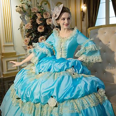 Rokoko Victoriansk Kostume Dame Kjoler Party-kostyme Maskerade Ballkjole Blå Vintage Cosplay Blonde Bomull Fest Skoleball Lang Lengde Ballkjole Store størrelser Tilpasset / Blomstret
