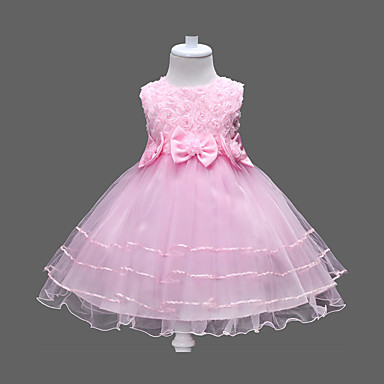 お買い得  女児 ドレス-子供 女の子 甘い / プリンセス パーティー / 誕生日 / 祝日 フラワー リボン / レイヤード ノースリーブ ドレス フクシャ