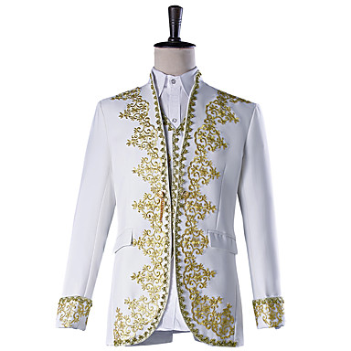 Prince Cosplay Costume Masquerade Jacket Tuxedo Suits & Blazers Men's Embossed Baroque Medieval 18th Century Halloween Carnival Festival / Holiday Polyster White Carnival Costumes Plus Size Solid