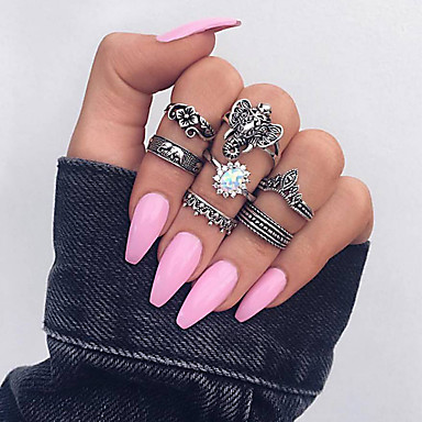 billige Motering-Dame Ring Set Tail Ring Multi-fingerring Kubisk Zirkonium 7pcs Sølv Strass Legering Sirkelformet damer Vintage Etnisk Daglig Aftenselskap Smykker Retro Elefant Blad Formet Blomst Kul