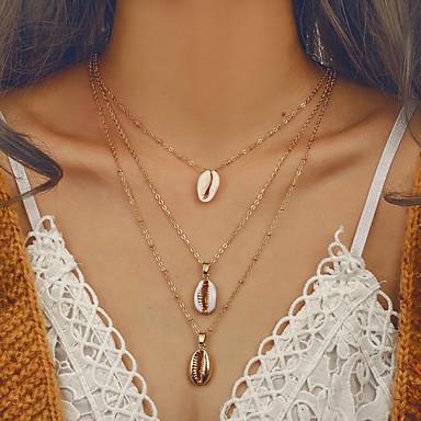 baratos Bijuteria de Mulher-Mulheres colares em camadas Colar longo Multi Camadas senhoras Europeu Na moda Bikini Liga Dourado 41 cm Colar Jóias 1pç Para Para Noite namorados