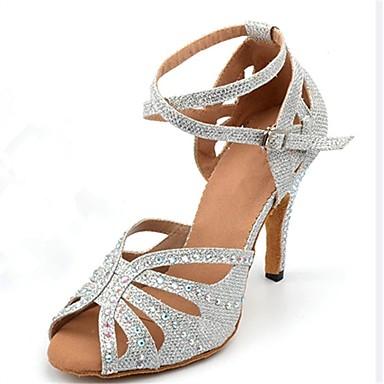 Žene Plesne cipele Sintetika Cipele za latino plesove Štras / Kopča Sandale / Štikle Tanka visoka peta Moguće personalizirati Srebro / Seksi blagdanski kostimi