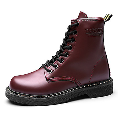 b60b92d6d نسائي PU الخريف كاجوال كتب كعب متوسط أمام الحذاء على شكل دائري جزمات متوسطة  أسود / بني