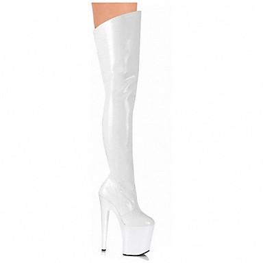 Γυναικεία Σέξυ μπότες Λουστρίν Άνοιξη / Καλοκαίρι / Φθινόπωρο Μοντέρνες μπότες / Παπούτσια club Μπότες Τακούνι Στιλέτο / Πλατφόρμα Μπότες πάνω από το Γόνατο Λευκό / Μαύρο / Κόκκινο