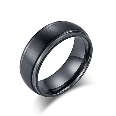voordelige Herensieraden-Heren Bandring Ring 1pc Zwart Zilver Wolfraamstaal Roestvrij staal Stijlvol Standaard modieus Bruiloft Avond Feest Sieraden Klassiek Cool