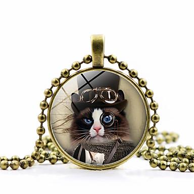 Žene Ogrlice s privjeskom Klasičan Mačka dame Moda Slatka Style Steampunk Reciklirani papir Legura Zlato Crn Pink 45+5 cm Ogrlice Jewelry 1pc Za Praznik Rad