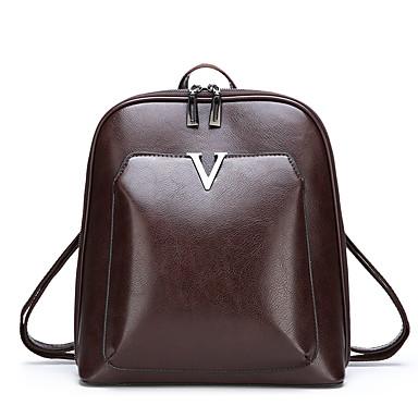 PU Vetoketjuilla Backpack Yhtenäinen väri Päivittäin Musta / Ruskea / Syystalvi