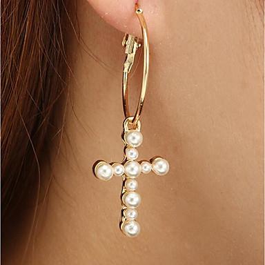 女性用 ドロップイヤリング クラシック 十字架 レディース スタイリッシュ クラシック 人造真珠 イヤリング ジュエリー ゴールド 用途 日常 1ペア