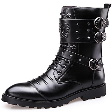 a5e28cba6 Men's Fashion Boots Synthetics Winter Casual / British Boots Keep Warm Mid-Calf  Boots Black
