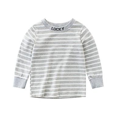 baratos Camisas para Meninos-Infantil Para Meninos Básico Diário Para Noite Azul e Branco Listrado Patchwork Manga Longa Algodão Blusa Azul