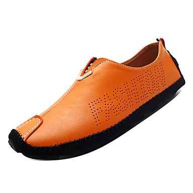 Férfi Vezetői cipők Bőr Ősz Brit Papucsok   Balerinacipők Légáteresztő  Fekete   Narancssárga   Sötétkék 86f18d42ab