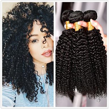 3 paketa Brazilska kosa Kinky Curly Ljudska kosa Wig Accessories Ljudske kose plete Bundle kose 8-28 inch Prirodna boja Isprepliće ljudske kose Smooth Žene proširenje Proširenja ljudske kose