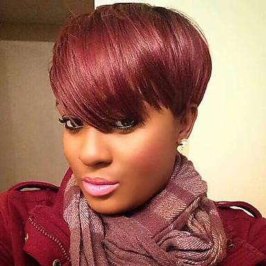 povoljno Ljepota i kosa-Ljudski kose bez kaplama Ljudska kosa Prirodno ravno Pixie frizura / Stepenasta frizura / Kratke frizure 2019 Berry Stil Moda / Stražnji dio / S praskama Tamno vino Kratko Capless Perika Žene