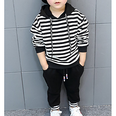 cheap Boys' Clothing Sets-Toddler Boys' Hoodie & Pants Pullover Clothing Set Long Sleeve 2 Pieces Blue Black Letter Elastic Drawstring Design With Pockets Striped Solid Color Sports Outdoor Cotton Basic Casual 2-6 Years