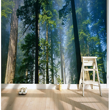 cheap Wall Art-Wallpaper / Mural Canvas Wall Covering - Adhesive required Trees / Leaves / Pattern / 3D