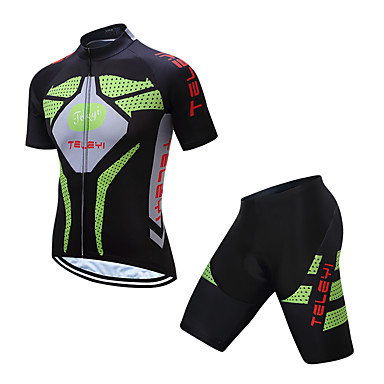 6700afd5c TELEYI Men s Short Sleeve Cycling Jersey with Shorts - Green Bike Clothing  Suit Quick Dry Sports