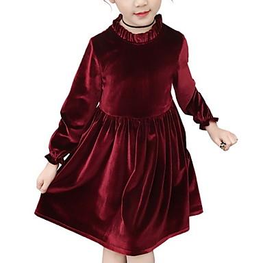 baratos Princesa-Infantil Para Meninas Básico Sólido Manga Longa Vestido Rosa