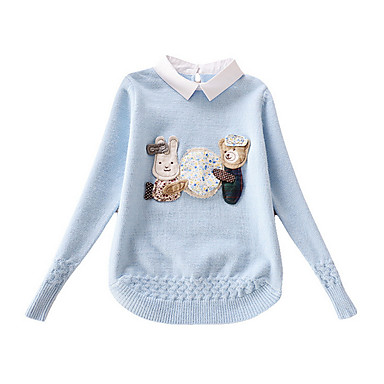 baratos Suéteres & Cardigans para Meninas-Infantil Para Meninas Activo Diário Jacquard Manga Longa Padrão Suéter & Cardigan Bege