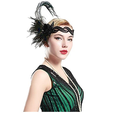 The Great Gatsby Čarlston Vintage 1920s Gatsby Roaring 20s Glava Traka za kosu u stilu 20-ih Žene Rese Kostim Šeširi Zelen Vintage Cosplay Party Prom