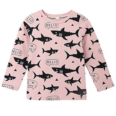 baratos Blusas para Meninas-Bébé Para Meninas Activo Diário Geométrica Manga Longa Camiseta Rosa