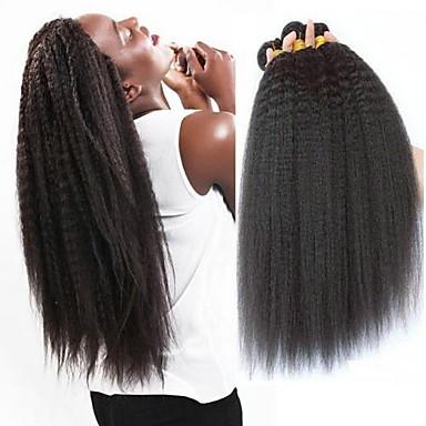 baratos Extensões de Cabelo Natural-3 pacotes Cabelo Brasileiro Kinky Liso Não processado Cabelo Natural Cabelo Humano Ondulado Cabelo Bundle Um Pacote de Solução 8-28 polegada Côr Natural Tramas de cabelo humano extensão Melhor