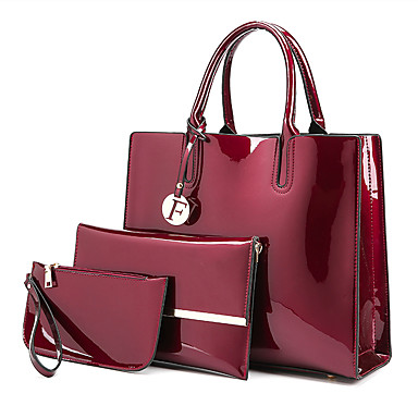 8976f891d Women's Bags Patent Leather Bag Set 3 Pcs Purse Set Buttons / Zipper Solid  Color Black / Red / Purple / Bag Sets / Fall & Winter
