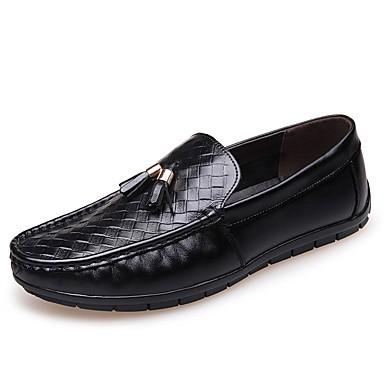 رجالي أحذية الراحة جلد ربيع & الصيف المتسكعون وزلة الإضافات أسود / أصفر