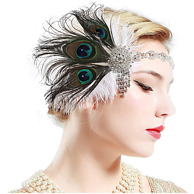 The Great Gatsby Čarlston Vintage 1920s Gatsby Glava Traka za kosu u stilu 20-ih Žene Rese Kostim Šeširi Crn / Zeleni i crni / Obala Vintage Cosplay Party Prom