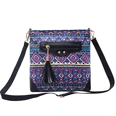 نسائي أكياس كنفا حقيبة الكتف طباعة زهور أزرق / أرجواني / بني