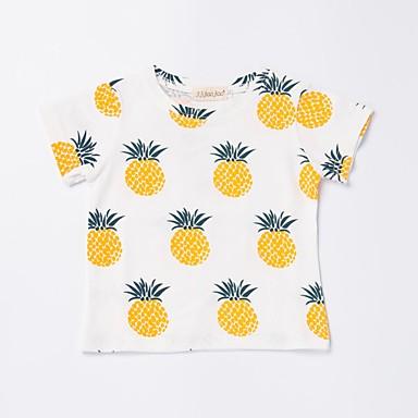baratos Camisas para Meninos-Bébé Para Meninos Activo Básico Diário Esportes Ananás Fruta Estampado Manga Curta Padrão Algodão Camiseta Bege