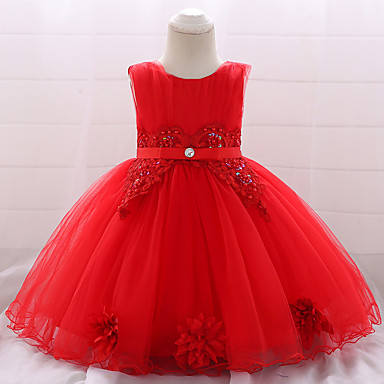 b9b4d1f1f Baby Girls' Active / Basic Party / Birthday Solid Colored Lace Sleeveless  Knee-length Cotton Dress Red