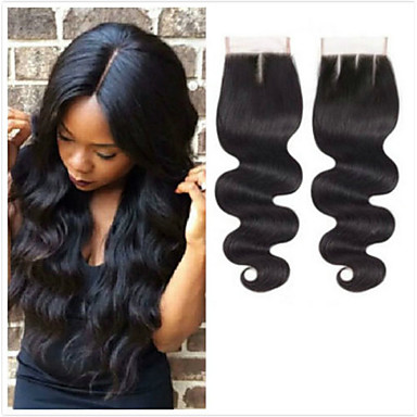 930e66341f Mongolian Hair 4x4 Closure / Free Part Wavy Free Part Swiss Lace Virgin  Human Hair Women's Smooth / Natural / Adorable Date / Baby Shower /  Quinceañera ...