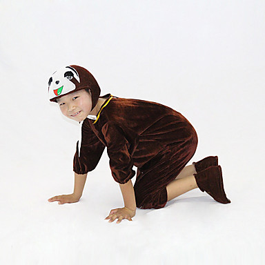 1e0fe790 Kid's Kigurumi Pajamas Sloth Onesie Pajamas Flannel Fabric Brown Cosplay  For Boys and Girls Animal Sleepwear Cartoon Festival / Holiday Costumes