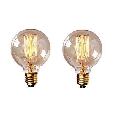 2pcs 40 W E26 / E27 G95 Toplo bijelo 2200-2700 k Retro / Zatamnjen / Ukrasno Žarulja sa žarnom niti Edison 220-240 V