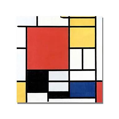 お買い得  壁飾り-ハング塗装油絵 手描きの - 抽象画 コンテンポラリー 内枠を含めます / ストレッチキャンバス