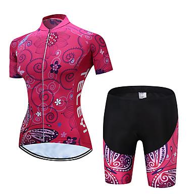 TELEYI Žene Kratkih rukava Biciklistička majica s kratkim hlačama Rose Red Zelen Plava Cvjetni / Botanički Bicikl Sportska odijela Prozračnost Ovlaživanje Quick dry Sportski Poliester Cvjetni