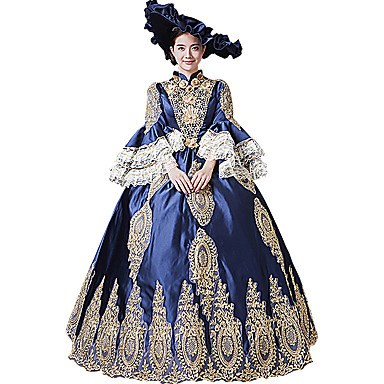 8719a51cef102 Queen Princess Rococo Baroque Victorian 18th Century Ball Gown Dress  Masquerade Costume Women's Costume Blue Vintage