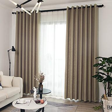 Blackout cortinas cortinas Comedor Un Color Mezcla de Lino y ...