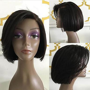 Ljudska kosa Lace Front Perika Bob frizura Kratak Bob stil Brazilska kosa Silky Straight Crna Perika 130% Gustoća kose s dječjom kosom Prirodna linija za kosu Za crnkinje 100% rađeno rukom Žene Kratko
