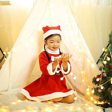 Božićna haljina Santa Clothe Djeca Djevojčice Božić Božić Festival / Praznik Pliš Light Red Karneval kostime Božić
