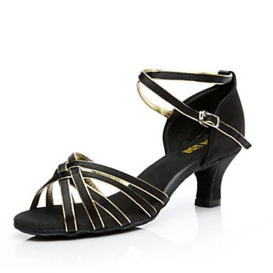 povoljno SUN LISA-Žene Saten Cipele za latino plesove / Cipele za salsu Kopča Sandale Potpetica po mjeri Moguće personalizirati Srebrna / Smeđa / Zlatna / Seksi blagdanski kostimi / Koža / EU40