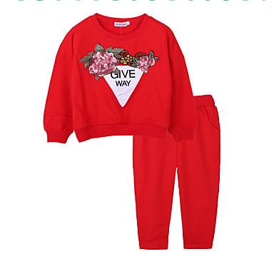 ba4110baba3ff مجموعة ملابس قطن كم طويل طباعة أساسي للفتيات طفل صغير