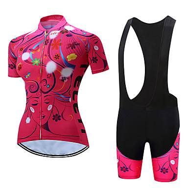 7e752fa59 TELEYI Women s Short Sleeve Cycling Jersey with Bib Shorts - White   Black  Floral   Botanical