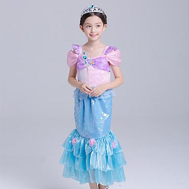 The Little Mermaid Aqua Princess Cosplay Nošnje Dječji Djevojčice Aktivan Halloween Božić Halloween Karneval Festival / Praznik Organza Pamuk Plava Karneval kostime Sirena
