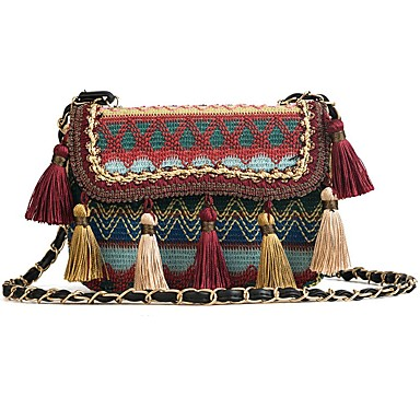 cheap Going to the beach-Women's Bags Straw Shoulder Bag Tassel Blue / Red