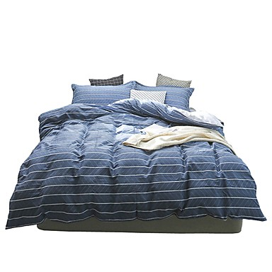 Set Copripiumino Stripes - Ripples 100% Cotone Con Stampe 4 Pezzibedding Sets #07044116 Profitto Piccolo