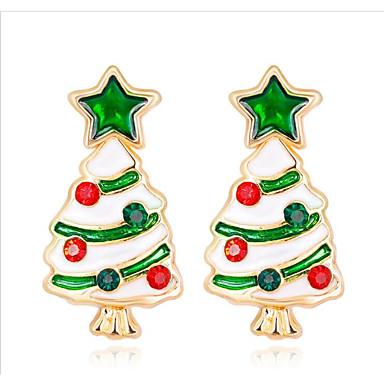 voordelige Oorbellen-Dames Kubieke Zirkonia Klassiek Oorbel oorbellen Kerstboom Dames Modieus Sieraden Regenboog Voor Kerstmis Dagelijks 1 paar